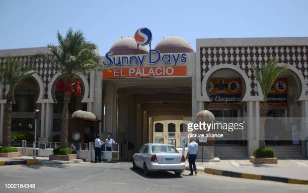 A car is parked in front of the Sunny Days 'El Palacio' Hotel where the assassin attacked several holidaymakers with a knife at the beach on 14 July...
