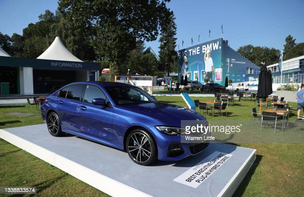 Car is pictured in the public village during Previews of The BMW PGA Championship at Wentworth Golf Club on September 07, 2021 in Virginia Water,...