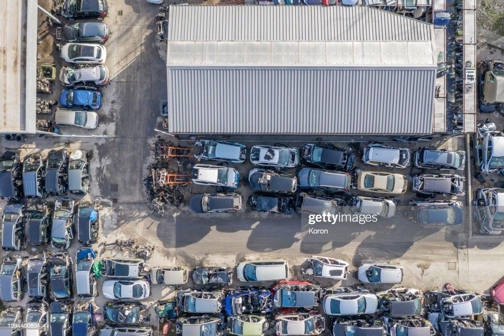 Car junkyard : Stock Photo