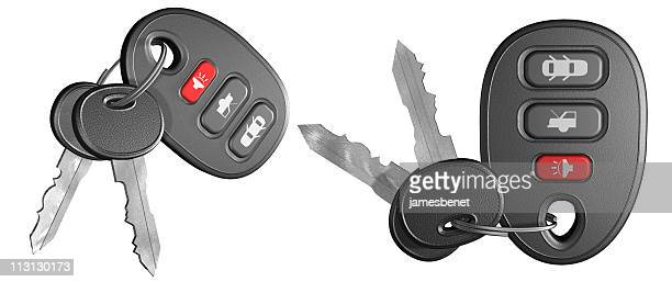 car key chains (3d) - car alarm stock photos and pictures