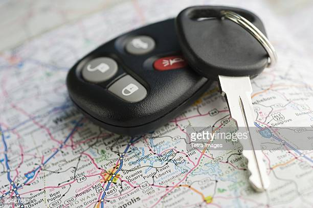 Car key on a map