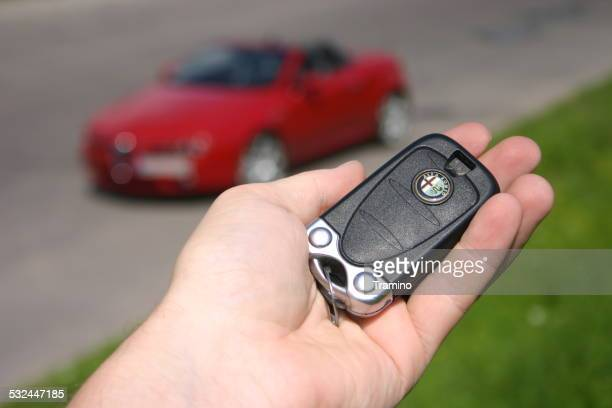 Car key on the hand and true car