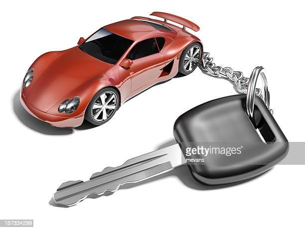 Car key with a sports car key ring
