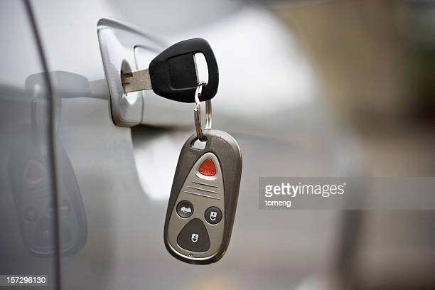Car Key with Remote Control Inserted in Door