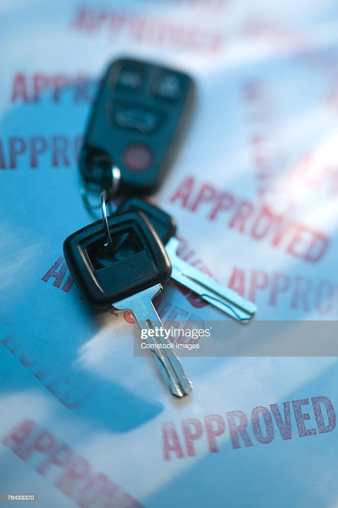 Car keys and approved application : Stockfoto