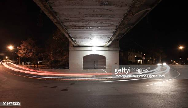Car Light Streaks Under a Bridge