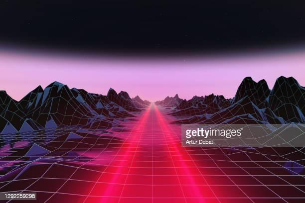 car light trail driving straight in surreal digital render scenario. - ゲームコントローラー ストックフォトと画像