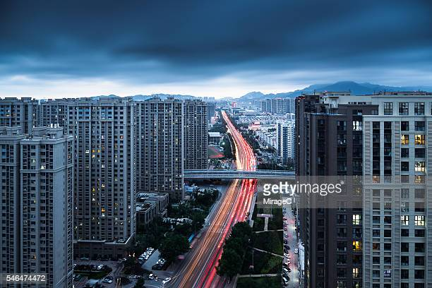 Car Light Trails on Urban Arterial Road Aerial View