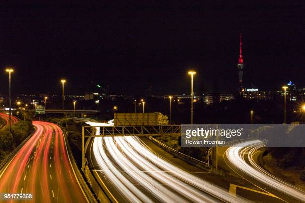 car lights in the city - fast shutter speed stock photos and pictures