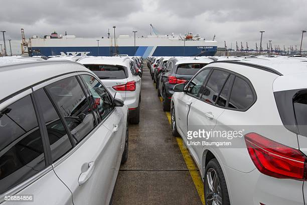 Car loading to oversea at BLG Logistics in Bremerhaven BMW cars waiting for shipment