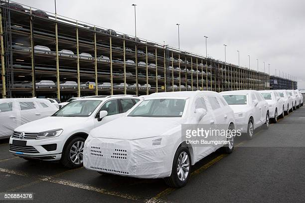 Car loading to oversea at BLG Logistics in Bremerhaven The picture shows AUDI and Volkswagen cars shortly before loading