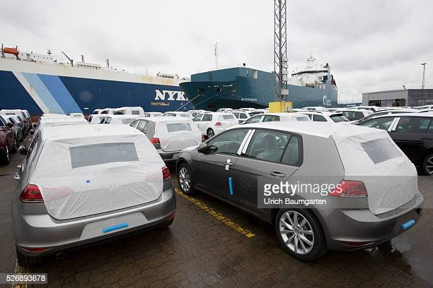 Car loading to oversea at BLG Logistics in Bremerhaven The picture shows Volkswagen cars shortly before loading