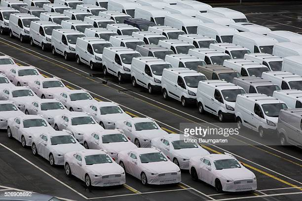 Car loading to oversea at BLG Logistics in Bremerhaven The picture shows AUDI cars and Ford transporter shortly before loading