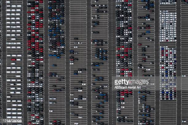 car lot photographed from directly above, netherlands - new zealand foto e immagini stock