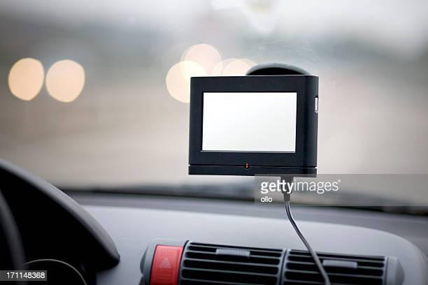 Das Navigationssystem im Auto, fahren Sie auf den highway