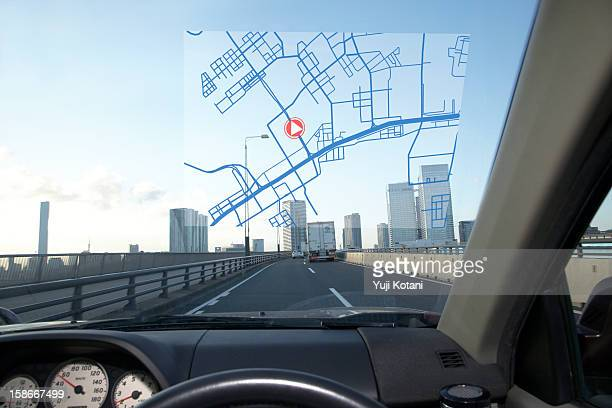 car navigation system - gps map stock photos and pictures