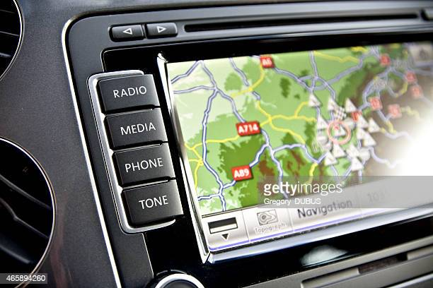 Car navigation technology close up