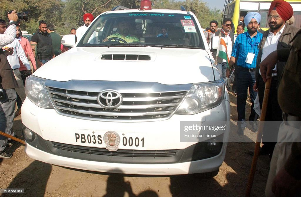 A car of rural development and Panchayats Minister Sikander Singh Maluka at a gate in rally during laying of foundation stone by prime minister...