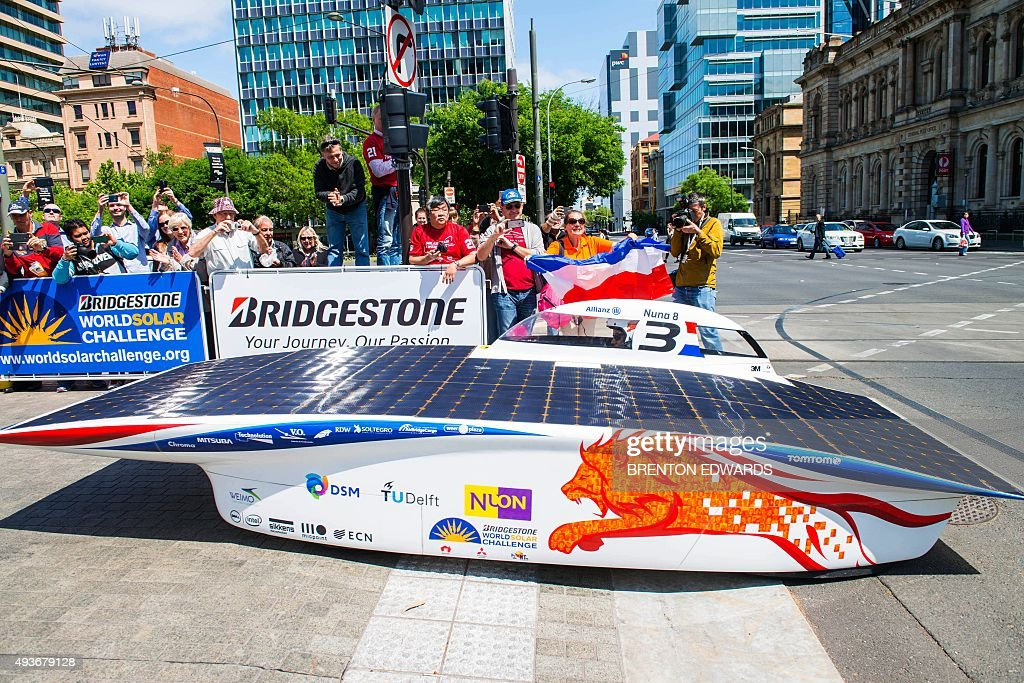 Car Of The Dutch Team Nuon Solar Team Crosses The Finish Line To
