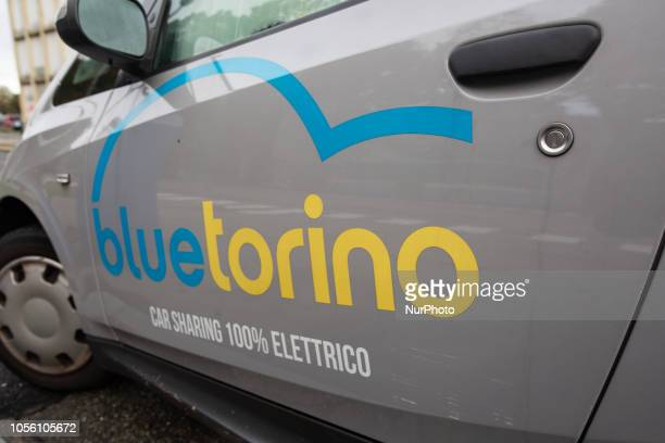 A car of the ecarsharing company bluetorino Impressions of the Fall in the capital of Piedmont Turin in Northern Italy on 1st November 2018