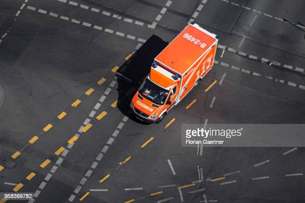 A car of the fire brigade is pictured on a crossroads on May 09 2018 in Berlin Germany