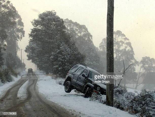 Car off road in snow