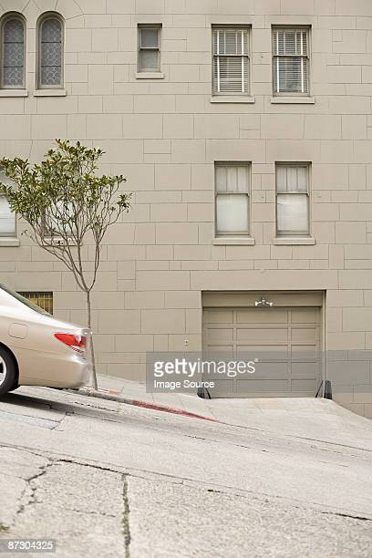 car on a san francisco hill - steep stock photos and pictures