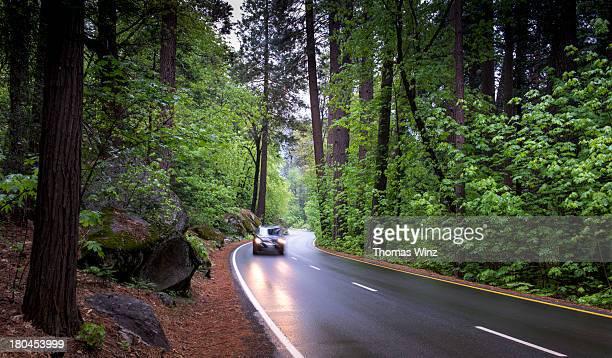 Car on a wet road in the Sierras