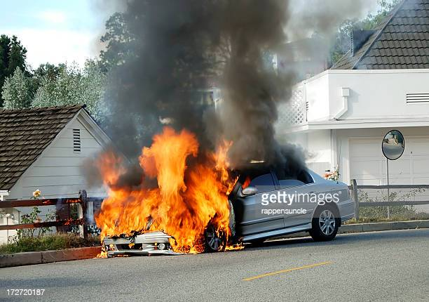car on fire - detonate stock photos and pictures
