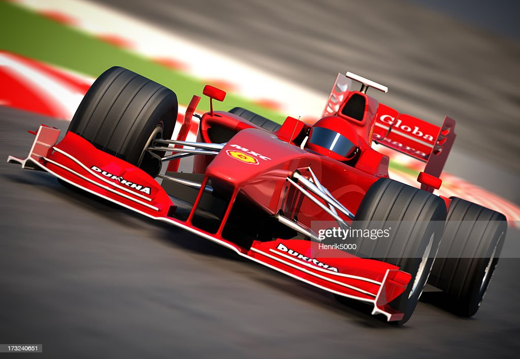 F1 car on racetrack, clipping path included : Stock Photo