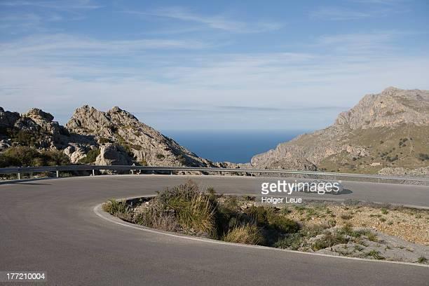car on sa calobra mountain road - porsche stock pictures, royalty-free photos & images