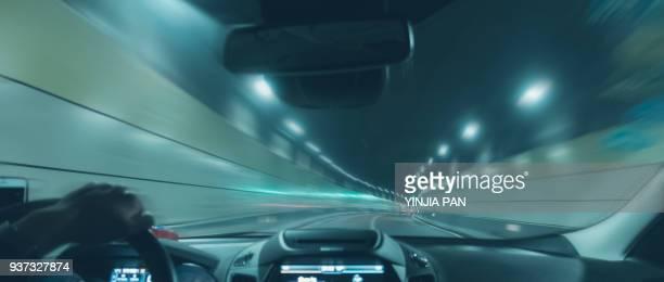 car on the move in shanghai china - carrera de coches fotografías e imágenes de stock