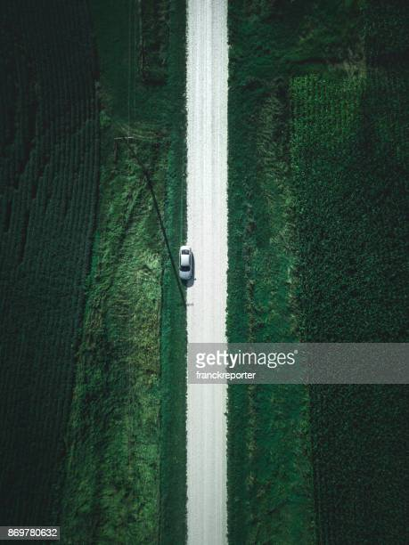car on the road aerial view