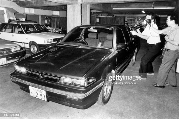 Car owned by little girls serial killer Tsutomu Miyazaki is displayed at Hachioji Police Station after his arrest on August 11, 1989 in Hachioji,...