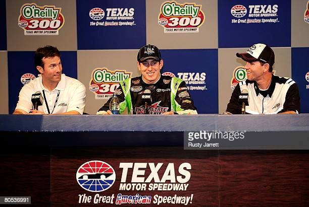 Car owner JD Gibbs Kyle Busch driver of the DLP HDTV Toyota and crew chief Jason Ratcliff speak at a press conference following Busch's win of the...