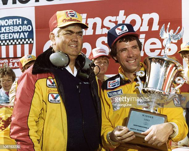 Car owner Junior Johnson joins his driver Darrell Waltrip in victory lane after Waltrip won the Northwestern Bank 400 NASCAR Cup race at North...