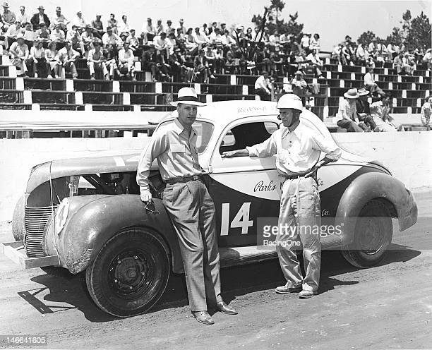 Car owner Raymond Parks and his driver Bob Flock before the start of a Modified Stock Car race at GreenvillePickens Speedway
