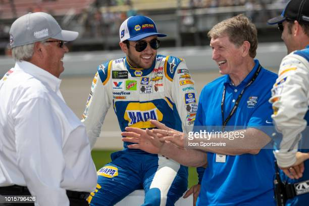 Car Owner Rick Hendrick Monster Energy NASCAR Cup Series driver Chase Elliott and his father Bill Elliot share a laugh before the Monster Energy...