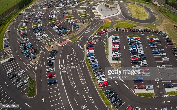 uk car park - aerial photograph - park and ride - parking valet stock photos and pictures