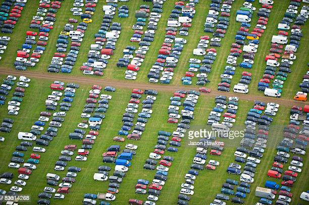 Car park at Glastonbury Festival, Somerset