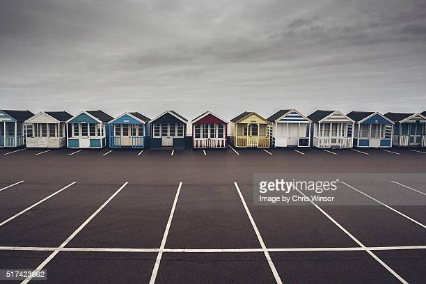Car park beach huts