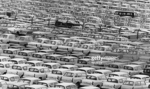 Car park, full to capacity, mainly with new Ford Anglias, at the Ford Motor Company's factory at Halewood, near Liverpool. Production at the plant...