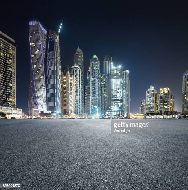 Car park with Dubai marina background