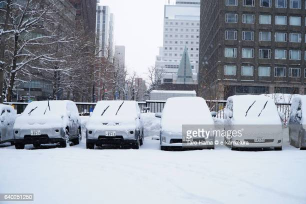 Car parking in snow city
