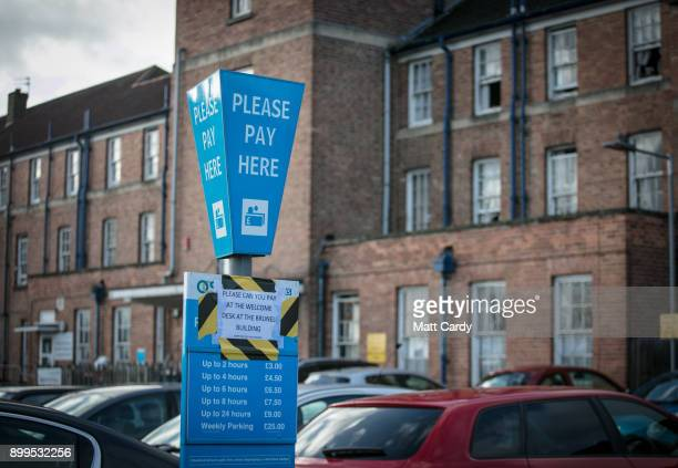 Car parking tariff board is picture in a car park at Southmead Hospital Bristol on December 29, 2017 in Bristol, England. A recent Freedom of...
