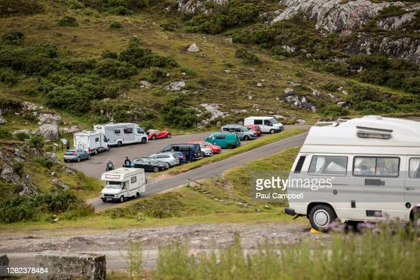 Car parks and beauty spots along the A838 are busy as tourists take to the North Coast 500 route on July 29, 2020 in Ullapool, Scotland. Scotland has...