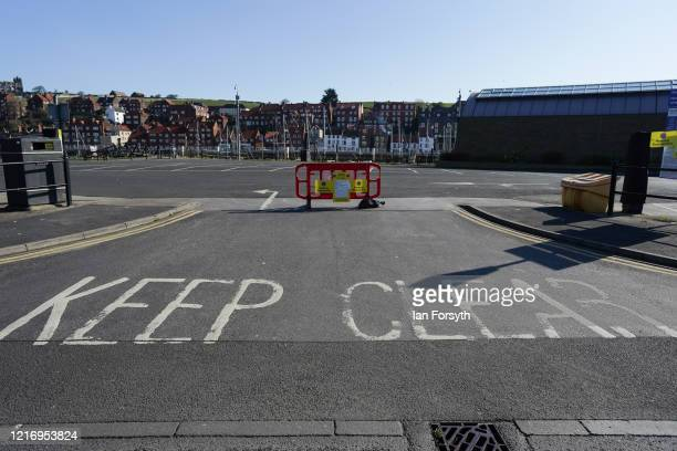 Car parks in Whitby remain closed during the Coronavirus pandemic lockdown on April 05, 2020 in Whitby, United Kingdom. The Coronavirus pandemic has...