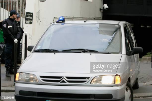 A car part of the convoy carrying Jerome Kerviel the French trader accused of losing banking giant Societe Generale 490 billion through unauthorised...