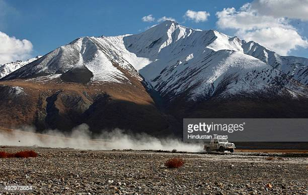 A car participant during leg 5 on the fifth day of Raid De Himalaya Xtreme and Adventure Car Rally on October 15 2015 in Rangdum India Raid De...