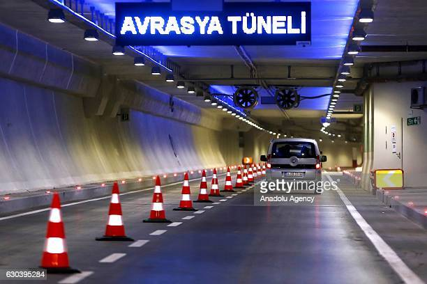 A car passes through the Eurasia tunnel after it's opening ceremony in Istanbul Turkey on December 22 2016 Traffic began to flow from both Europe and...